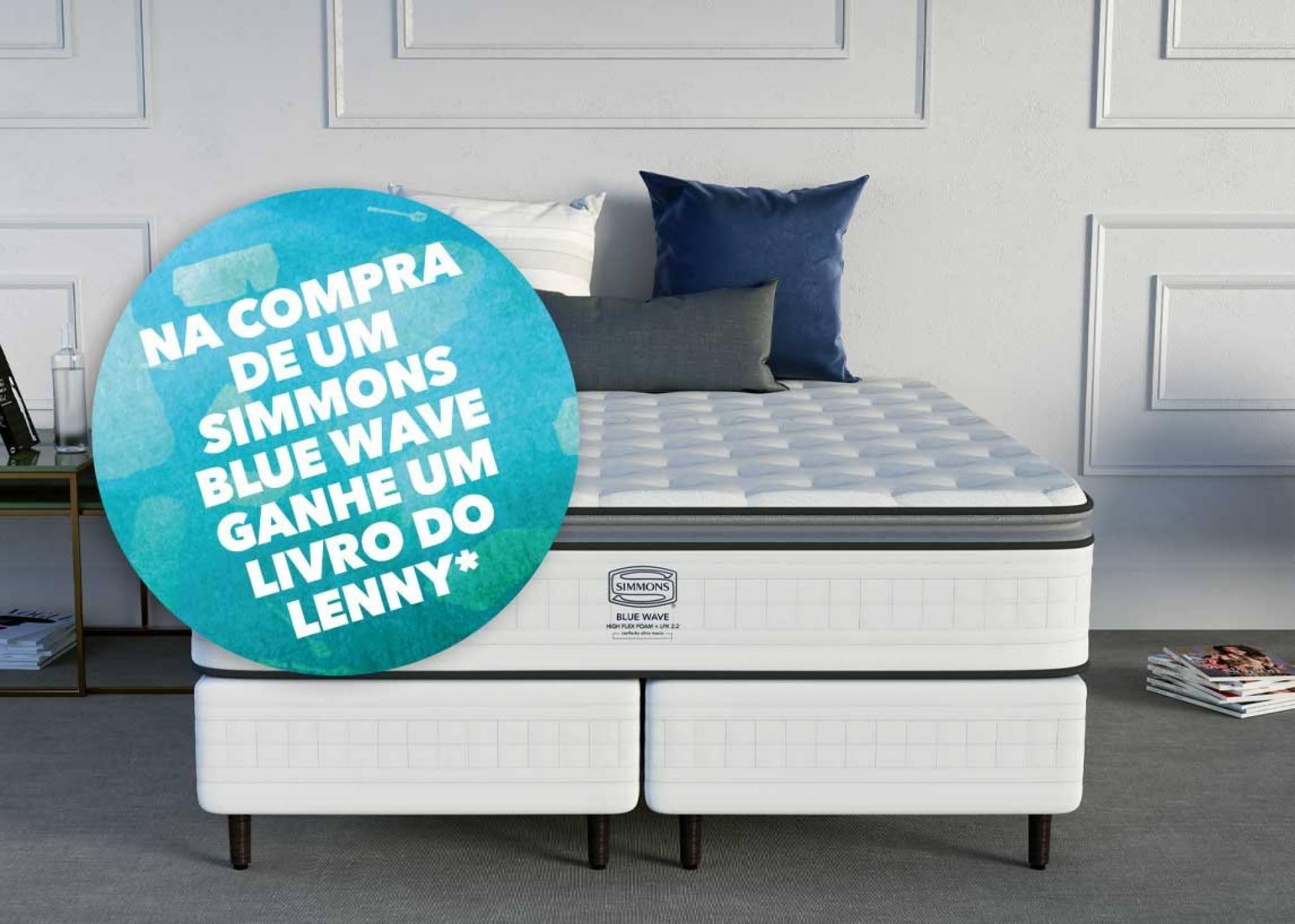 Na compra de um Colchão Simmons blue Wave ganhe um livro do Lenny